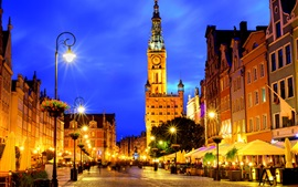 Preview wallpaper Poland, Gdansk, night, lights, city, street