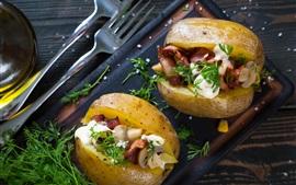 Картофель, грибы, бекон, продукты питания