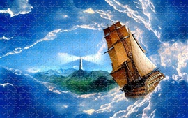 Preview wallpaper Puzzles, lighthouse, sailboat, sea, waves, clouds