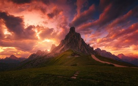 Preview wallpaper Red clouds, sky, evening, house, mountains, meadows, Alps