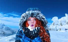 Preview wallpaper Red hair woman, blue eyes, snow