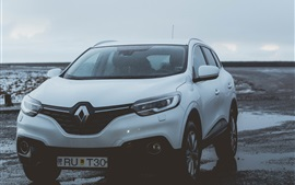 Preview wallpaper Renault white SUV car front view, water drops