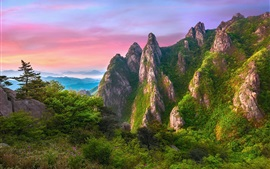 Preview wallpaper Rocks mountains, grass, green, nature landscape