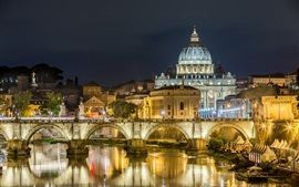 Preview wallpaper Rome, night, lights, river, bridge, Palace, Italy