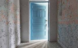 Preview wallpaper Room, blue door, light