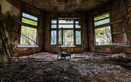 壁紙のプレビュー 部屋、窓、椅子、汚れ、遺跡