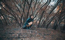Sadness girl, leather coat, trees
