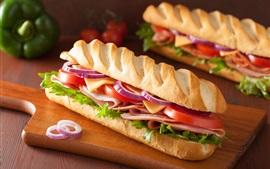 Ensalada, hamburguesa, sandwich