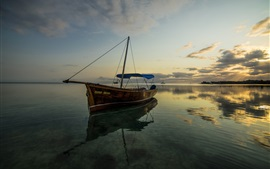 Preview wallpaper Sea, boat, calm water, clouds, dusk