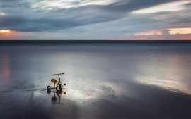 Preview wallpaper Sea, clouds, sunset, child toy bike