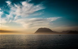 Sea, mountains, clouds, sunset