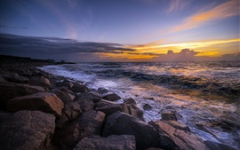 Preview wallpaper Sea, rocks, dusk, sunset
