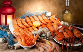 Preview wallpaper Seafood, shrimp, wine, crabs
