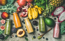 Smoothies, drinks, vegetables and fruit