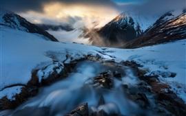 Snow, rocks, creek, mountains, winter