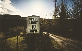 Preview wallpaper Speed limit sign, road