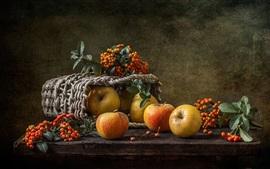 Натюрморт, яблоки, ягоды, корзина