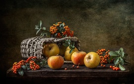 Still life, apples, berries, basket