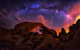 Stones, milky way, stars, night