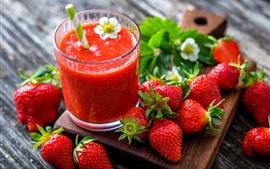 Aperçu fond d'écran Fraise, jus, boissons aux fruits