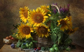 Sunflowers, basket, plums
