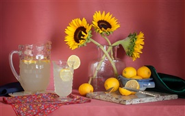 Preview wallpaper Sunflowers, lemons, glass cups, drinks