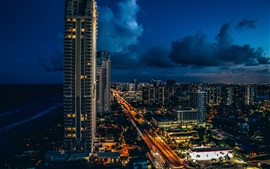 Preview wallpaper Sunny Isles Beach, skyscrapers, city, night, lights, clouds, USA