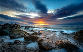 Sunset, sea, stones, waves, clouds