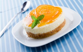 Preview wallpaper Sweet cake, dessert, apricot, plate, spoon