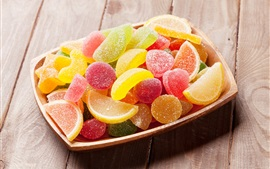 Preview wallpaper Sweet candy, colorful gummy, bowl