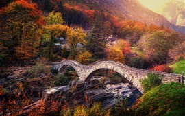 Preview wallpaper Switzerland, Alps, bridge, river, trees, autumn