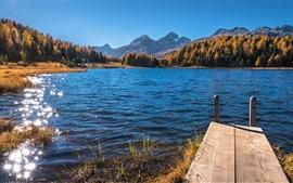 Швейцария, озеро Стаз, горы, деревья, свет сияния
