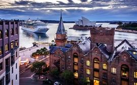 Сидней, Австралия, город, дома, корабль, море