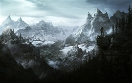 Preview wallpaper The Elder Scrolls V: Skyrim, mountains, art picture