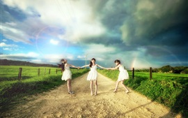Preview wallpaper Three Asian girls, road, clouds, fields