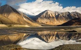 Tíbet, lago, montañas, nubes