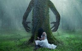 Árvore, mãos, menina, floresta, criativo