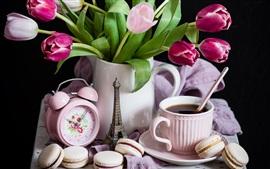 Tulips, macaroon, tea, alarm clock