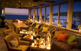 Preview wallpaper Twelve Apostles Hotel, champagne, lights, glass cups, Australia