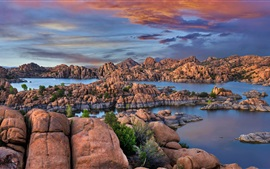 Preview wallpaper USA, Granite Dells, Watson Lake, rocks