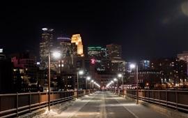 Estados unidos de américa, minneapolis, minnesota, puente, noche, luces, edificios