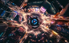 Preview wallpaper USA, New York, city, street, movement light, night, top view