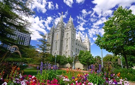 Preview wallpaper USA, Utah, Salt Lake City, buildings, flowers, trees