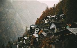 Aperçu fond d'écran Haute-Autriche, Hallstatt, maisons, montagnes