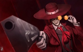 Vampire, gun, glasses, hat, anime art picture