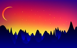 Vector design, mountains, moon, dusk
