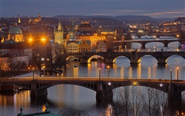 Vltava, República Checa, Praga, noite, pontes, rio, luzes