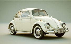 Preview wallpaper Volkswagen Beetle, white classic car