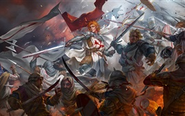 Preview wallpaper Warriors, battle, swords, crusaders, blood, art picture