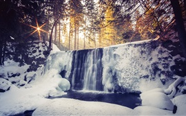 Preview wallpaper Waterfalls, winter, snow, forest, sunrise